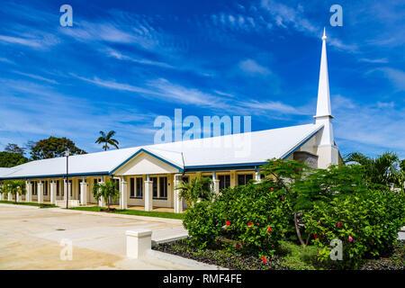 Typical Mormon church (The Church of Jesus Christ of Latter-day Saints) in rural Oceania. Tongatapu Island, Tonga, Polynesia, South Pacific Ocean. - Stock Image