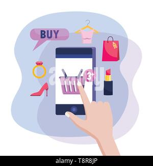 hand with smatphone ecommerce technology to shopping online vector illustration - Stock Image