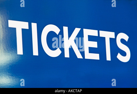 TICKETS, ENTER, BUY, SELL, AMUSEMENT PARK, MOVIE, MOVIE THEATER, COUPONS, RIDES, RIDE, SIGNS, ROAD SIGNS, TRAFFIC, - Stock Image