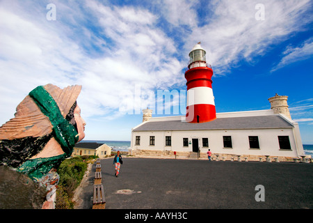 south africa cape agulhas sothermost point of africa lighthouse sculpture - Stock Image