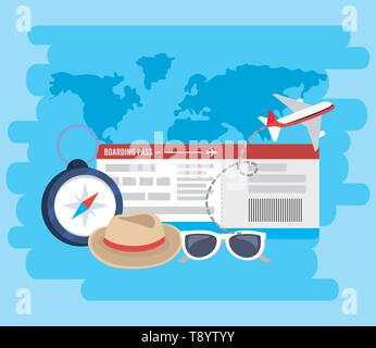 airplane with ticket and chronometer to adventure vacation vector illustration - Stock Image