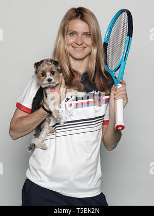 Czech tennis player Lucie Safarova poses for the photographer prior to the Czech Republic vs Canada Fed Cup relegation contest, on April 18, 2019, in  - Stock Image
