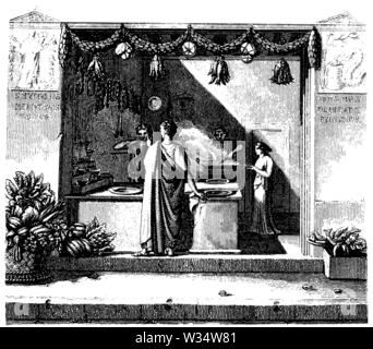 Shop in ancient Rome, ,  (cultural history book, 1875) - Stock Image