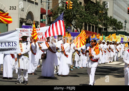 NEW YORK, NY - AUGUST 21: Vibrant and diverse crowds take part in the 36th India Day Parade to celebrate India's Independence Day on Madison Avenue, M - Stock Image