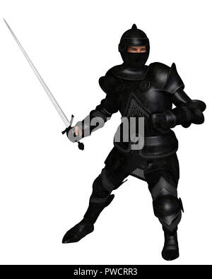 Black Knight in Medieval Armour, Attacking - Stock Image