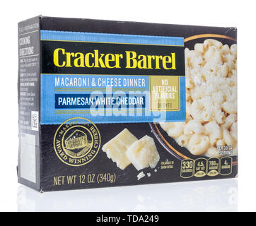 Winneconne, WI - 11 May 2019 : A package of Cracker Barrel white cheddar macaroni and cheese on an isolated background - Stock Image