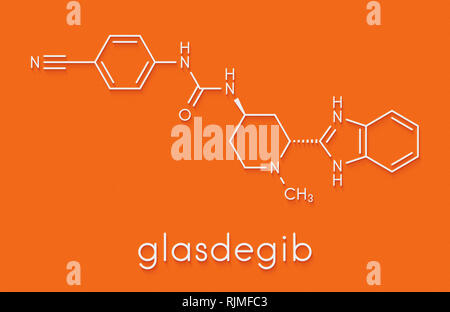 Glasdegib cancer drug molecule. Skeletal formula. - Stock Image