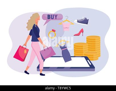 woman with shopping bags and smartphone ecommerce vector illustration - Stock Image