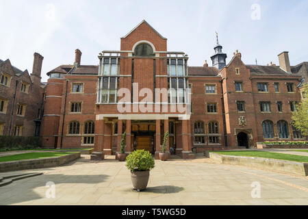 St Johns College showing modern addition to the old library Cambridge 2019 - Stock Image