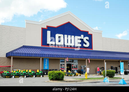 Lowe's home improvement and building supply store front exterior entrance showing logo sign in Montgomery Alabama, USA. - Stock Image