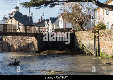Ford closed at the river Sid crossing in Sidmouth, Devon, - Stock Image