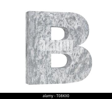 Concrete Capital Letter - B isolated on white background. 3D render Illustration - Stock Image