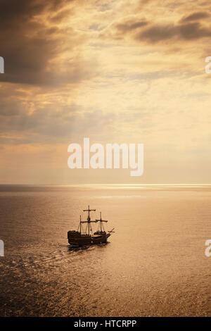 Tourist sailing ship near Dubrovnik; Croatia - Stock Image