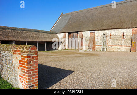 A view of the west end on the fully restored Elizabethan Great Barn on the Norfolk coast at Waxham, Norfolk, England, United Kingdom, Europe. - Stock Image