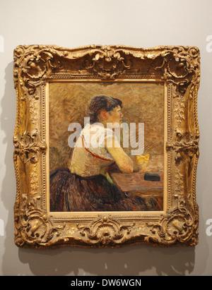 Henri de Toulouse-Lautrec (1886) Bebedora de ajenjo en Grenelle, Botero Museum of the Banco de la República, Bogotá, Colombia - Stock Image