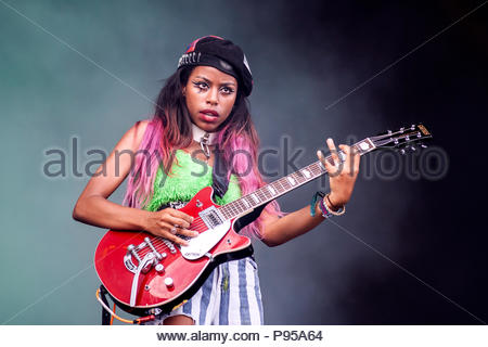 Aix-les-Bains, France . 14th July 2018. Nova Twins performing live at Musilac festival in Aix-les-Bains (France) - 14 July 2018 Credit: Olivier Parent/Alamy Live News - Stock Image