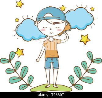 Stylish boy blushing cartoon outfit shorts tshirt backwards cap  clouds and stars background vector illustration graphic design - Stock Image