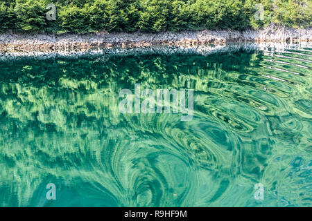 Reflections & distortions Views from Lake Koman Ferry, Albania - Stock Image