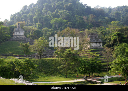 Temple of the Sun, Temple of the Cross, Temple XIV and XV, Palenque Archeological Site, Chiapas State, Mexico - Stock Image