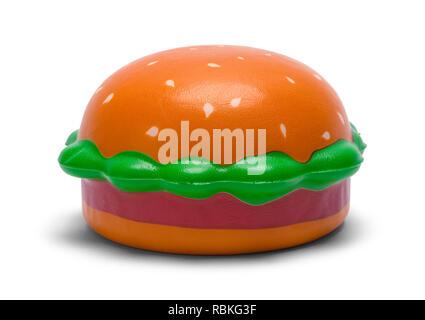 Foam Toy Hamburger Isolated on White Background. - Stock Image