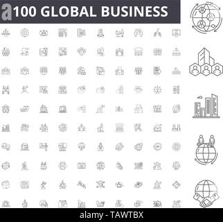 Global business line icons, signs, vector set, outline illustration concept  - Stock Image