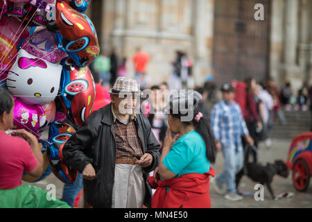 Locals in Plaza de Bolivar on a Sunday afternoon, Bogota, Colombia, South America - Stock Image