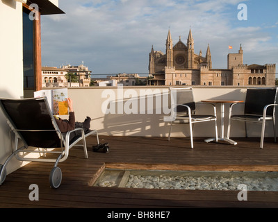 View from roof of Hotel Tres Palma de Mallorca on Mallorca Balearic Islands Spain - Stock Image