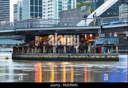 Bar on water in Melbourne. - Stock Image