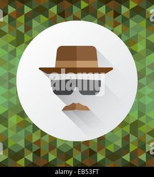Hat mustache and sunglasses vector - Stock Image
