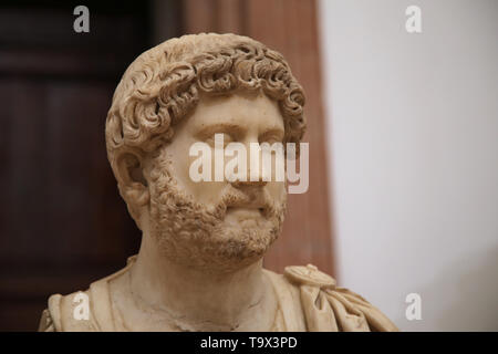 Emperor Hadrian (76-138). Marble bust,130-145 AD. Italica, Santiponce, Province of Seville, Andalucia, Spain.Archaeological Museum of Seville. Andalus - Stock Image