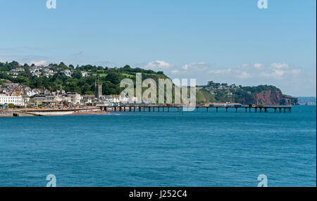 The resort town of Teignmouth in South Devon viewed from across The River Teign Estuary from Shaldon, England, UK - Stock Image