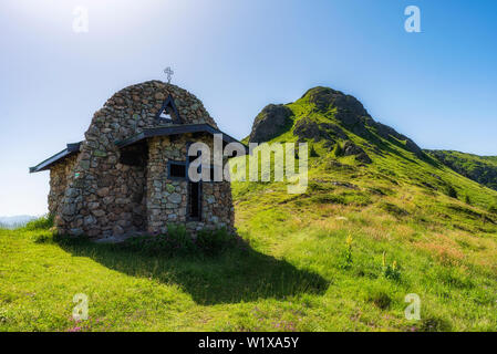 Holy Trinity stone made chapel in Old mountain, near Echo hut. Central Balkan national park in Bulgaria - Stock Image