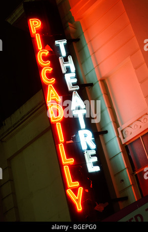 Piccadilly Theatre sign. London. UK 2009. - Stock Image