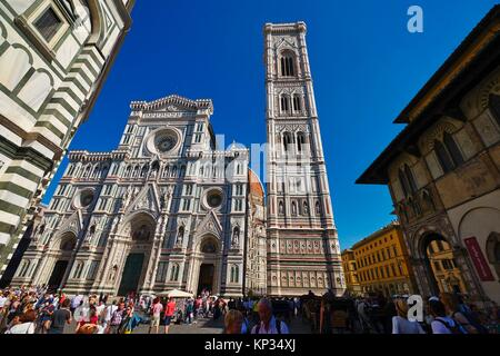 The Dome of Florence Cathedral (´Cathedral of Saint Mary of the Flowers´) is the main church of Florence, - Stock Image