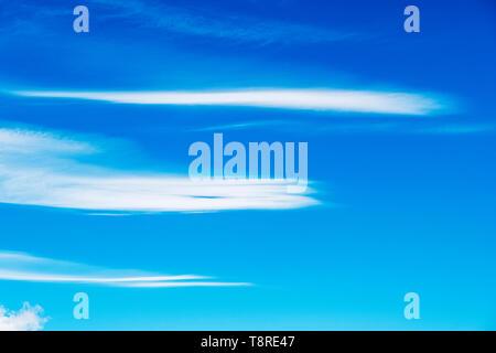 Beautiful blue sky with cirrus clouds; central Colorado; USA - Stock Image