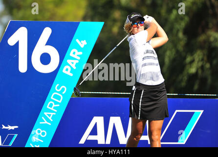 Rancho Mirage, California, USA. 2nd Apr, 2017. Anna Nordqvist on the 16th tee during the final round of the ANA - Stock Image