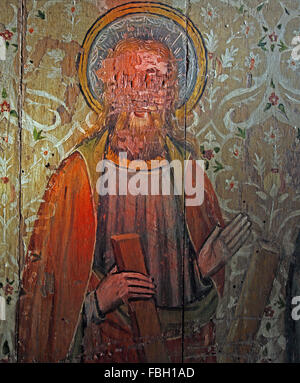 Painted Saint on the Rood Screen, St Andrew holding the saltire cross, St Michael's Church, Irstead, Norfolk - Stock Image