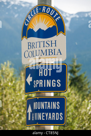 Circle route sign British Columbia in Canada - Stock Image