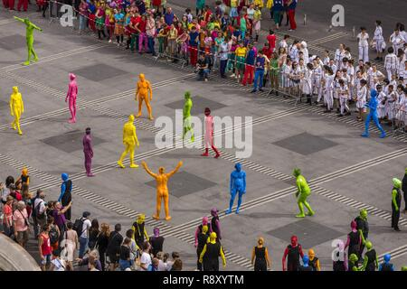 France, Rhone, Lyon, the Presqu'ile, historical site listed as World Heritage by UNESCO, Place des Terreaux during the biennale of dance - Stock Image