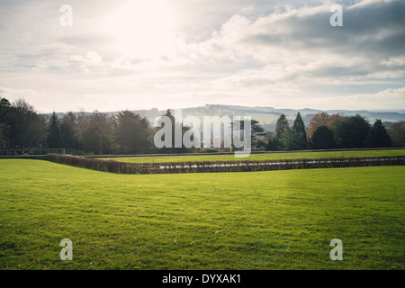 Hills as seen from the top of the Yorkshire Sculpture Park. - Stock Image