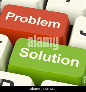 Problem And Solution Computer Keys Shows Assistance And Solving Online - Stock Image