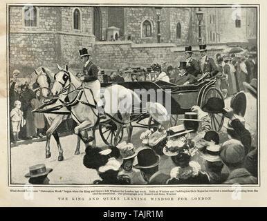 King Edward VII and  Alexandra of Denmark leaving Windsor for London 1902 - Stock Image
