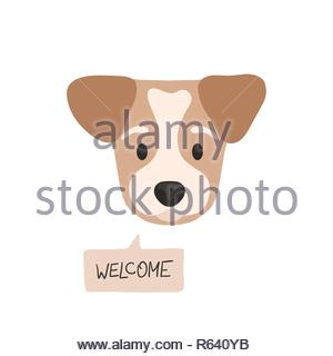 Welcome. Flat style dog head with opened eyes and a speech bubble - Stock Image