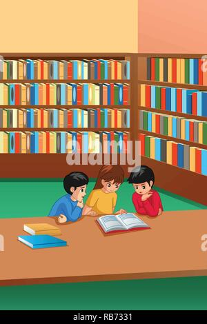 A vector illustration of Kids Studying in Library - Stock Image