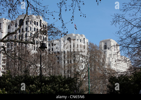 Historical Buildings in London Town on a sunny day with clear blue sky - Stock Image