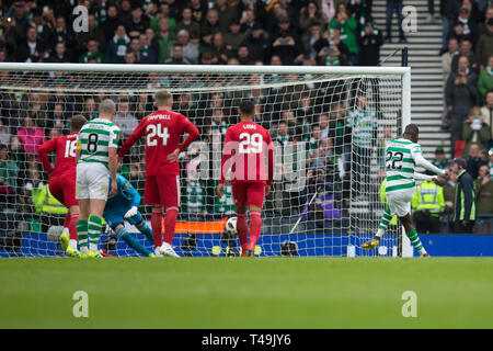 Hampden Park, Glasgow, UK. 14th Apr, 2019. Scottish Cup football, semi final, Aberdeen versus Celtic; Odsonne Edouard of Celtic scores for 2-0 from the penalty spot Credit: Action Plus Sports/Alamy Live News - Stock Image