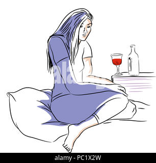 Drinking in the night.  Alone and unhappy woman drinking wine on the bed. - Stock Image