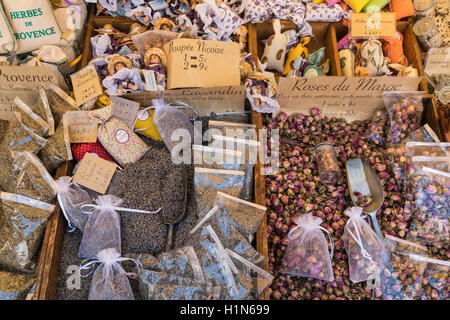 Spices and Souvenirs, Herbes de Provence, Lavandin, Roses,  Market Stall, Vieux Nice, Cours Saleya,  Alpes Maritimes, - Stock Image