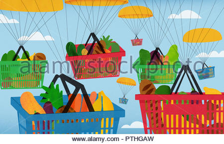 Parachutes carrying lots of shopping baskets full of groceries - Stock Image