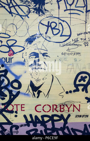 ' Vote Corbyn ' Stencil artwork found amongst scribbles on a wall in Hackney of the Labour leader during the government Elections, London, England. - Stock Image